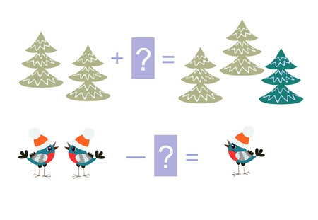 Educational game for children. Cartoon illustration of mathematical addition and subtraction. Vector image. Examples with cute colorful trees and birds.