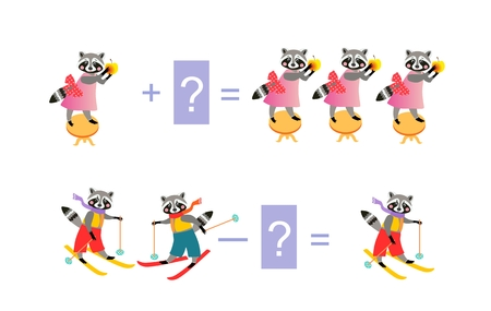 Magic math with cute raccoons. Educational game for children. Cartoon illustration of mathematical addition and subtraction - 6.