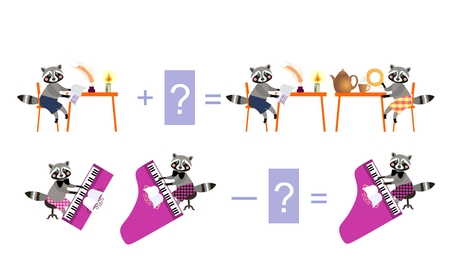 Magic math with cute raccoons. Educational game for children. Cartoon illustration of mathematical addition and subtraction - 5. Illustration