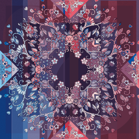 used ornament: Decorative floral ornament. Can be used for cards, bandana prints, kerchief design, tablecloths and napkins. Stock Photo
