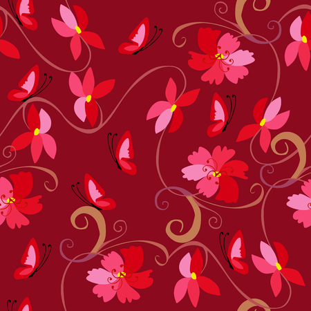 bedding: Cute seamless pattern with flowers and butterflies in red tones. Template for pillowcase, cushion, bedding, carpet.