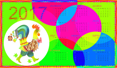 Calendar for 2017 year with fairy rooster - chinese symbol of new year. Week starts on sunday.