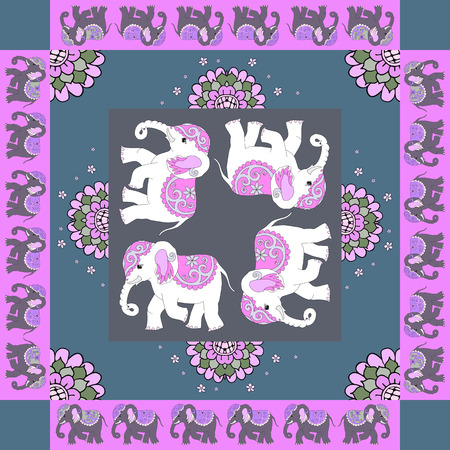 hanky: India. Lovely tablecloth or quilt. Ethnic bandana print with ornamental border. Silk neck scarf with flowers and elephants. Summer kerchief square pattern design style. Fabric. Stock Photo