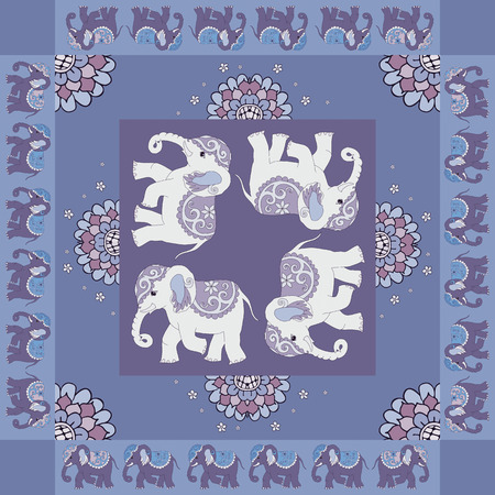 hanky: India. Lovely tablecloth. Quilt. Ethnic bandana print with ornamental border. Silk neck scarf with flowers, elephants. Summer kerchief square pattern. Fabric. Template for pillowcase, bedding, carpet.