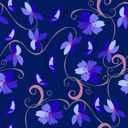 bedding: Cute seamless pattern with flowers and butterflies in blue tones. Template for pillowcase, cushion, bedding, carpet. Print for fabric.