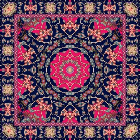 Beautiful indian rug with bright mandala and unusual ornamental border. Scarf.