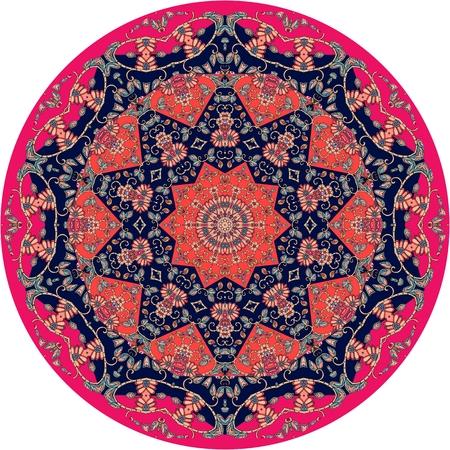 Circle ethnic rug with flower - mandala. Vector illustration 1.