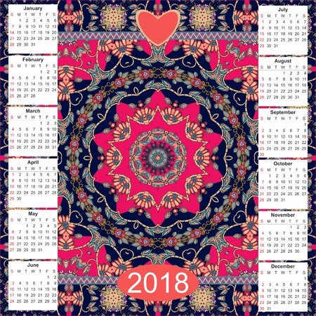 Calendar for 2018 year on ethnic ornamental background. Mandala pattern. Week starts on sunday. Vector template - 3