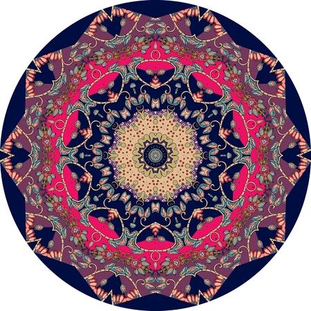 oriental rug: Ethnic mandala with flower. Round rug. Vector. Illustration