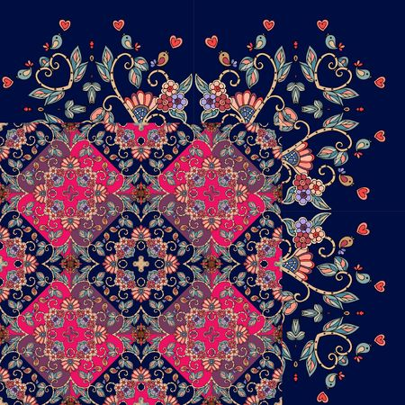 Quarter of the ethnic bandana print. Silk neck scarf with beautiful flowers and leaves. Rug. Vector illustration.