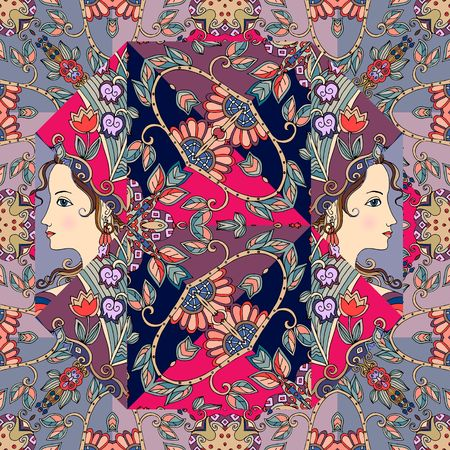 Festive indian print with portraits of cute girls and floral ornament. Vector endless pattern. Illustration