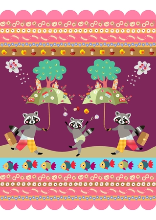 raccoons: Beautiful print for fabric with cute raccoons and ornamental border - 4. Endless vector pattern.