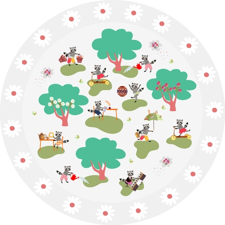 raccoon: Decorative round plate with cute raccoons in woodland and beautiful floral frame.