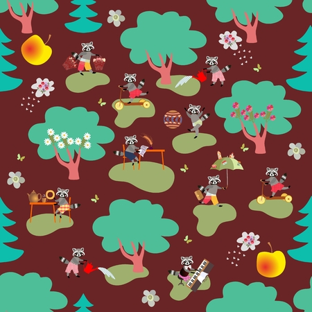 raccoons: Seamless vector pattern with cute raccoons in woodland.