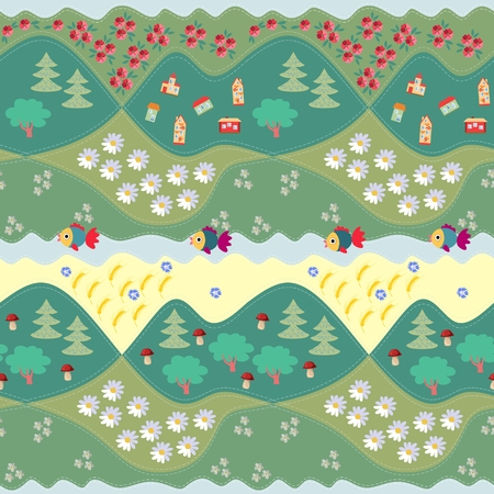 yarrow: Summer seamless pattern - 1. Print for fabric, paper, wallpaper, wrapping. Vector illustration. Countryside.