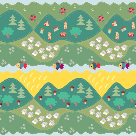 patchwork landscape: Summer seamless pattern - 2. Print for fabric, paper, wallpaper, wrapping. Vector illustration. Countryside.