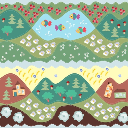 Cute summer seamless pattern. Print for fabric, paper, wallpaper, wrapping. Vector illustration. Countryside. Illustration