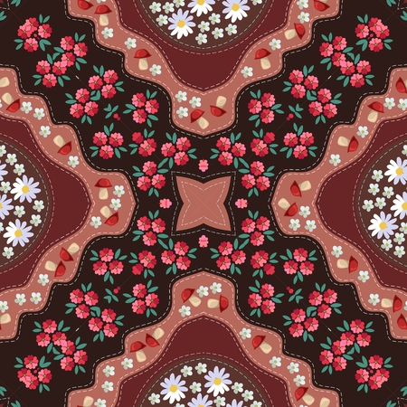 Russian seamless pattern with poppy, mushrooms, daisy and yarrow. Kerchief square design.