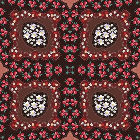Russian seamless pattern with poppy, mushrooms, daisy and yarrow. Napkin.