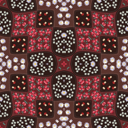 yarrow: Seamless patchwork pattern with forest flowers in russian style - 2. Festive print for fabric with boletus, mallow, chamomile, yarrow.