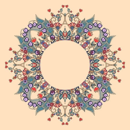 Round frame with flowers, hearts and birds on light orange background. Can be used for cards, bandana prints, kerchief design, pillowcase, tablecloths and napkins. Vector illustration.