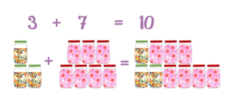 Mathematical examples in addition to fun glass jars. The number three. Educational game for children. Stock Photo