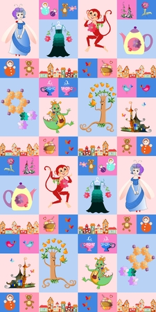 duvet: Patchwork for children. Festive background with a fairy, dragon, monkey, castle, teapot and cups, birds, butterflies, tree, town, toys, cake and flowers. Print for fabric.