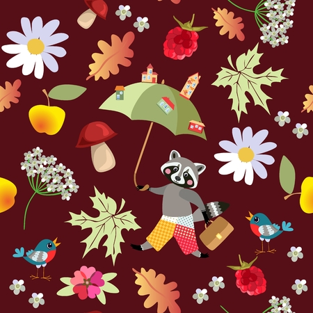 Seamless vector pattern with cute cartoon raccoon, flowers, raspberries, mushrooms, leaves, apples and birds. Drawing for children. Illustration