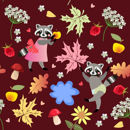 Seamless vector pattern with cute cartoon raccoons, flowers, raspberries, mushrooms, leaves, apples and puddle. Drawing for children. Illustration