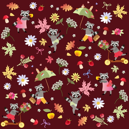 Endless vector pattern with cute cartoon raccoons, flowers, raspberries, mushrooms, leaves and apples. Drawing for children.
