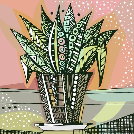 Hand drawn doodle houseplant in flowerpot. Vector illustration. Vektoros illusztráció