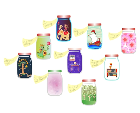 glass jars: Vitamins for the Soul. Cute cartoon allegorical illustration. Medicine for the soul. Pleasant memories in glass jars. Stock Photo