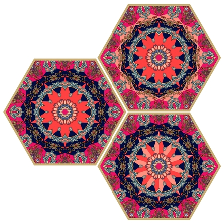 Collection of ornamental hexagonal ceramic tiles. Vector illustration. Ethnic style.