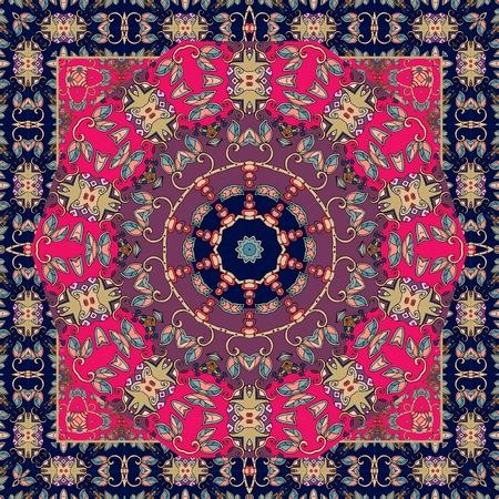 Carpet. Tablecloth. Shawl. Bandana. Vector. Boho style. Scarf. Stylish ethnic pattern.