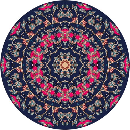 oriental rug: Decorative plate with beautiful ornament with mandala - 1. Interior design. Vector illustration. Uzbek motifs. Round rug.