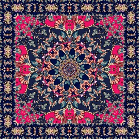 Beautiful blanket with  flower - mandala and ornamental frame. Shawl. Tablecloth. Illustration