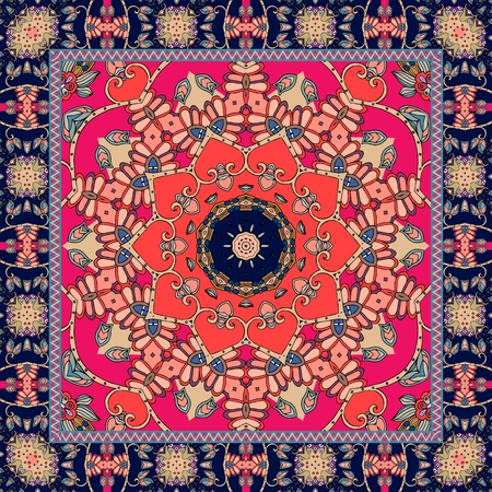 red rug: Beautiful bandana or square rug with stylized red flower and ornamental border.