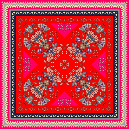 Lovely tablecloth in oriental style with ornamental border. Bright indian scarf with unusual floral pattern. Scawl. Illustration