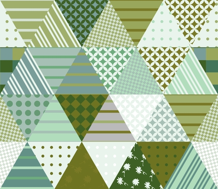 Seamless patchwork pattern from triangle patches. Vector illustration. Quilt in green tones. Illustration