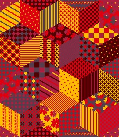 colores calidos: Patchwork en tonos cálidos. boho étnico patrón transparente. ornamento tribal geométrico. Ilustración del vector.