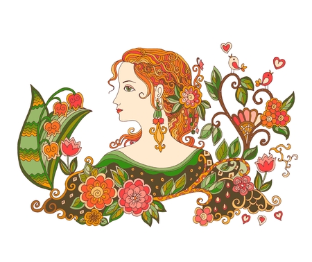 Colorful doodle portrait of beautiful girl with flowers. Spring Fairy. Vector illustration.