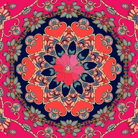 Greeting card, poster, square rug with cute red clematis on flower - mandala. Seamless vector pattern. Pillowcase. tablecloth, shawl in ethnic style, Illustration