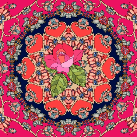 red rug: Festive card with cute pink rose on ornamental background. Seamless patchwork pattern in russian style. Vector illustration.