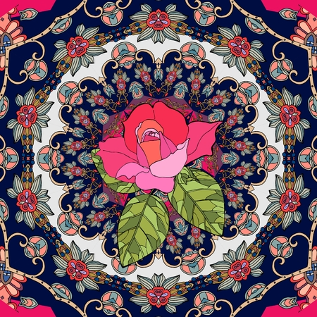 Beautiful patchwork pattern in russian style. Greeting card or wedding invitation with red rose. Vector illustration, Illustration