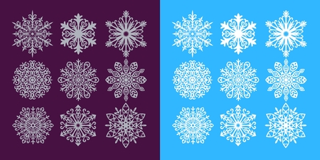 dark purple: Vector set of silver and white snowflakes on dark purple and blue background. Illustration