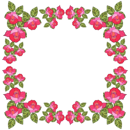 Beautiful card with floral frame. Save the date. Vector template. Bandana print with roses.