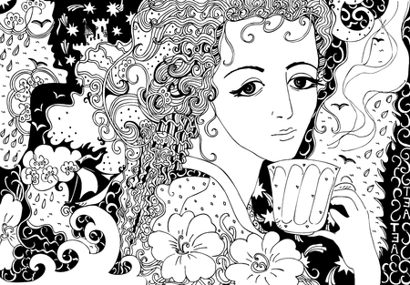Tea with memories. Hand drawn doodle illustration of beautiful girl