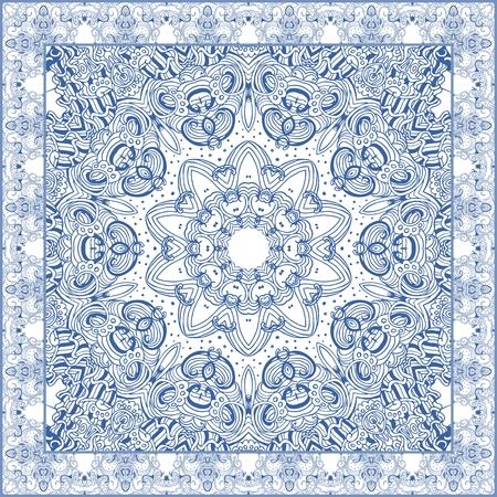 Vector fashion illustration. Bandana print with ornamental frame in blue tones. Beautiful scarf with flower - mandala. Illustration