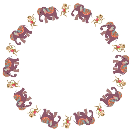 Round frame with cute cartoon elephants and dancing monkeys with clematis on white background. Vector illustration. Space for text. Packaging design.