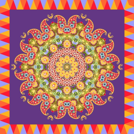 Scarf with flower - mandala on dark lilac background and bright ornamental border. Lovely tablecloth, greeting card, wrapping design, square rug in indian style.